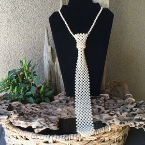 Vintage Pearl Tie Necklace